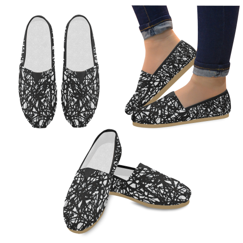 Black And White Abstraction Unisex Casual Shoes (Model 004)
