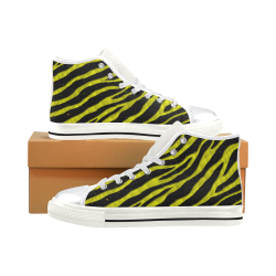 Ripped SpaceTime Stripes - Yellow High Top Canvas Women's Shoes/Large Size (Model 017)