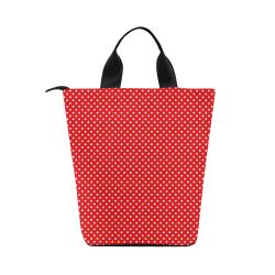 Red polka dots Nylon Lunch Tote Bag (Model 1670)