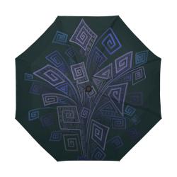 Psychedelic 3D Square Spirals - blue and violet Anti-UV Auto-Foldable Umbrella (U09)