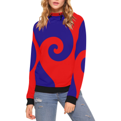 Mod Hippie Red and Blue Curlicue Swirls High Neck Pullover Hoodie for Women (Model H24)