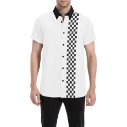 Checkered Sports Pattern Border Black Men's All Over Print Short Sleeve Shirt (Model T53)