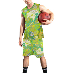 floral 1 abstract doodle in green All Over Print Basketball Uniform