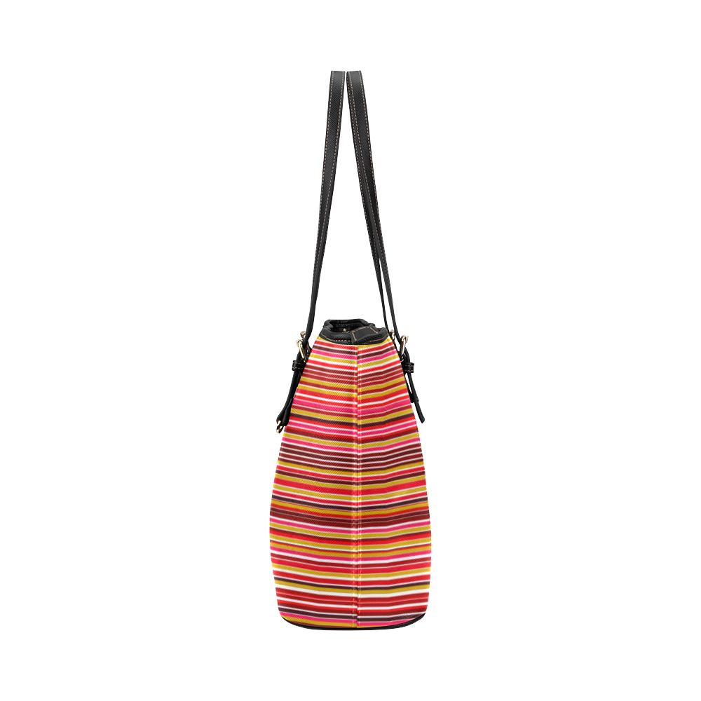 Dark Red & Gold Stripe Leather Tote Bag/Small (Model 1651)