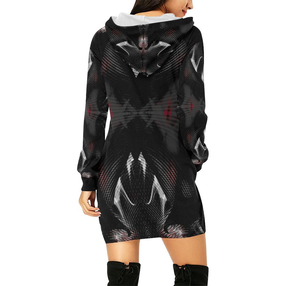 5000DUBLE 47 C 2 All Over Print Hoodie Mini Dress (Model H27)