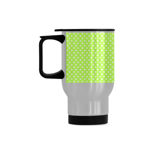 Mint green polka dots Travel Mug (Silver) (14 Oz)