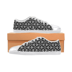 geometric pattern black and white Women's Canvas Shoes (Model 016)