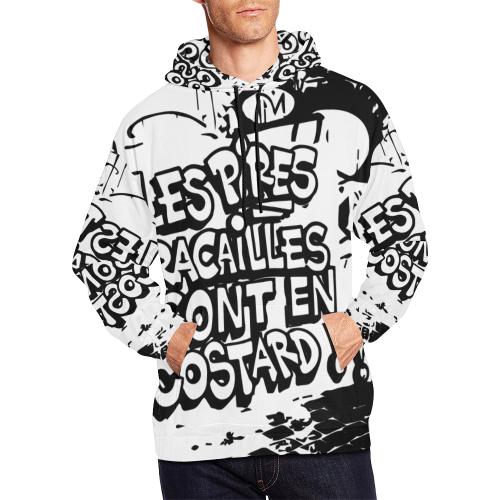 rac-blanc-contour-noir All Over Print Hoodie for Men (USA Size) (Model H13)