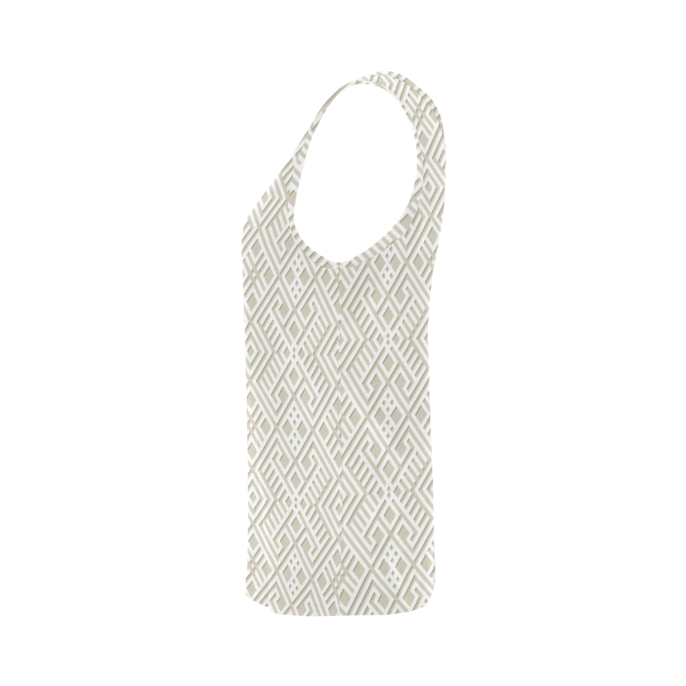 White 3D Geometric Pattern All Over Print Tank Top for Women (Model T43)