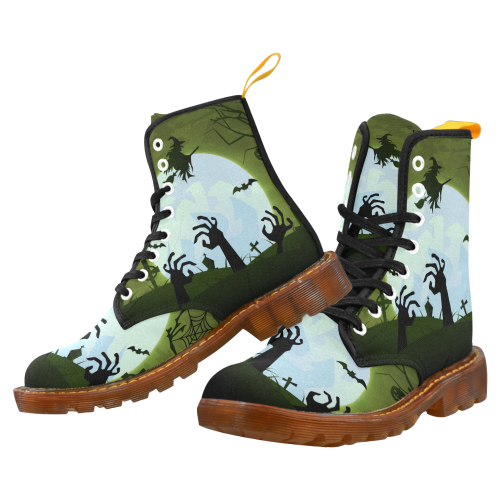 Spooky Zombie Graveyard Martin Boots For Women Model 1203H