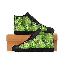 Tropical Jungle Leaves Camouflage Aquila High Top Microfiber Leather Women's Shoes (Model 027)