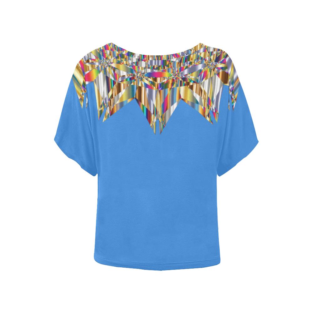 Gem Abstract/ Blue Women's Batwing-Sleeved Blouse T shirt (Model T44)