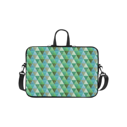 Triangle Pattern - Green Teal Khaki Moss Laptop Handbags 10""