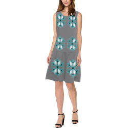 Snowflake Shift Dress Sleeveless Splicing Shift Dress(Model D17)