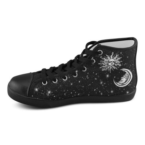 Mystic  Moon and Sun Women's High Top Canvas Shoes (Model 002)