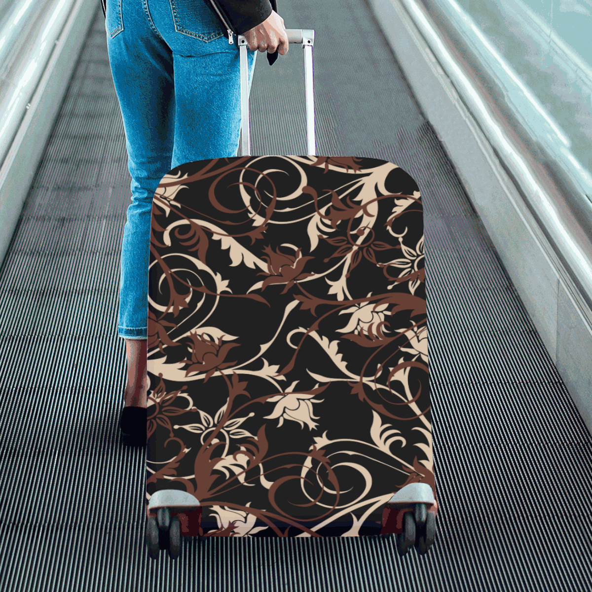 """plants and flowers black Luggage Cover/Large 26""""-28"""""""