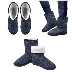 Neon Purple, Blue, Green and Black 4745 Custom High Top Unisex Snow Boots (Model 047)