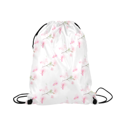 "PATTERN ORCHIDÉES Large Drawstring Bag Model 1604 (Twin Sides)  16.5""(W) * 19.3""(H)"