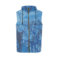 Blue splatters All Over Print Sleeveless Zip Up Hoodie for Men (Model H16)