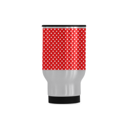 Red polka dots Travel Mug (Silver) (14 Oz)