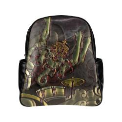 Dark Emerald and Tan Ganesha Drummer Hindu - Jamming In the Dark Original Art Design Multi-Pockets Backpack (Model 1636)