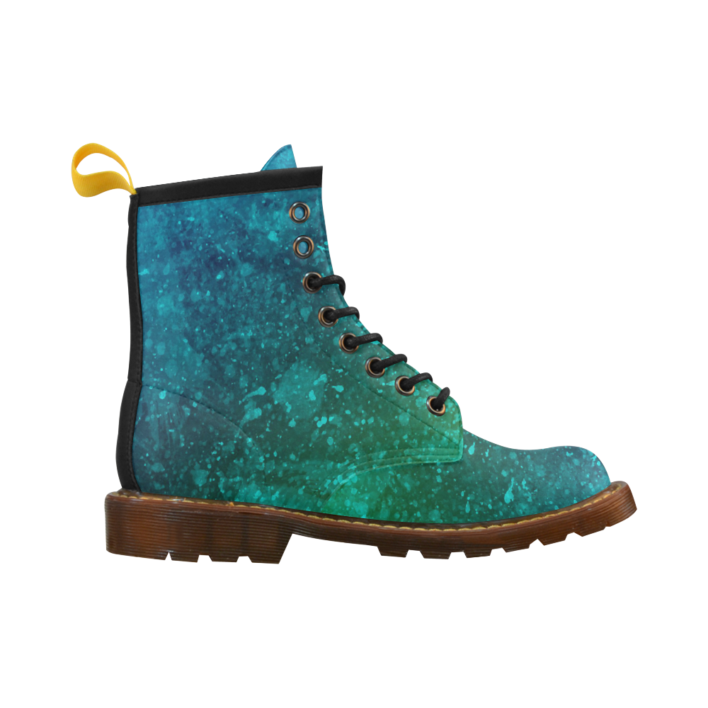 Blue and Green Abstract High Grade PU Leather Martin Boots For Men Model 402H
