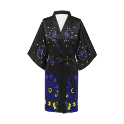 blue yellow bandana version 1 Kimono Robe