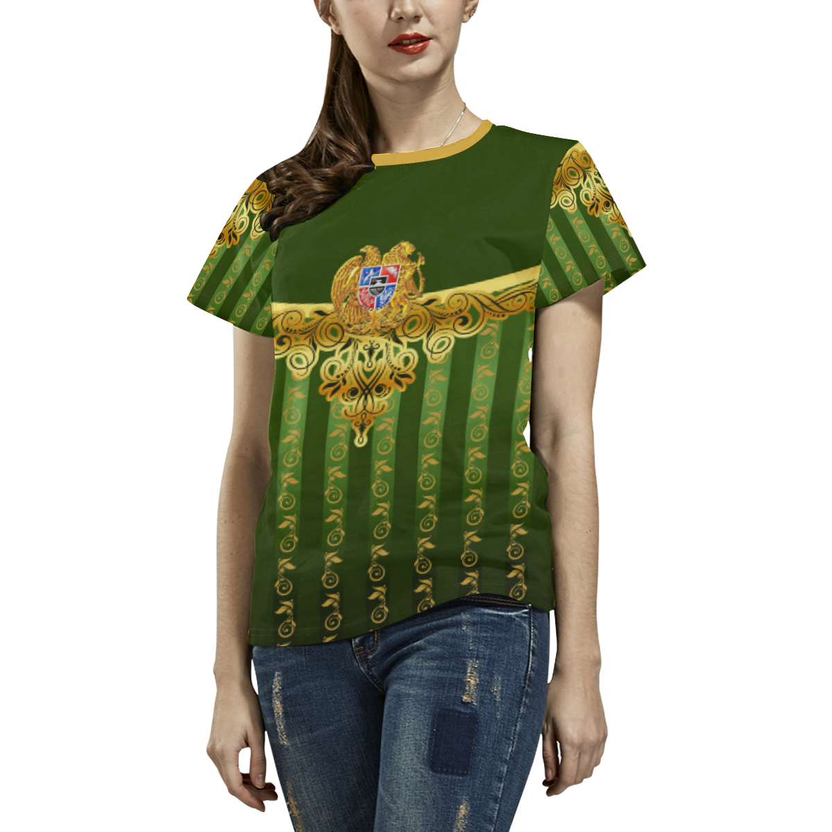 Coat of arms of Armenia All Over Print T-shirt for Women/Large Size (USA Size) (Model T40)