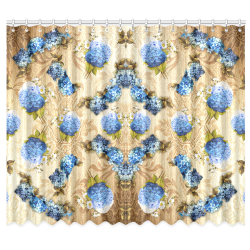"watercolor Hydrangeas on VINTAGE GOLD Window Curtain 50""x84""(Two Piece)"