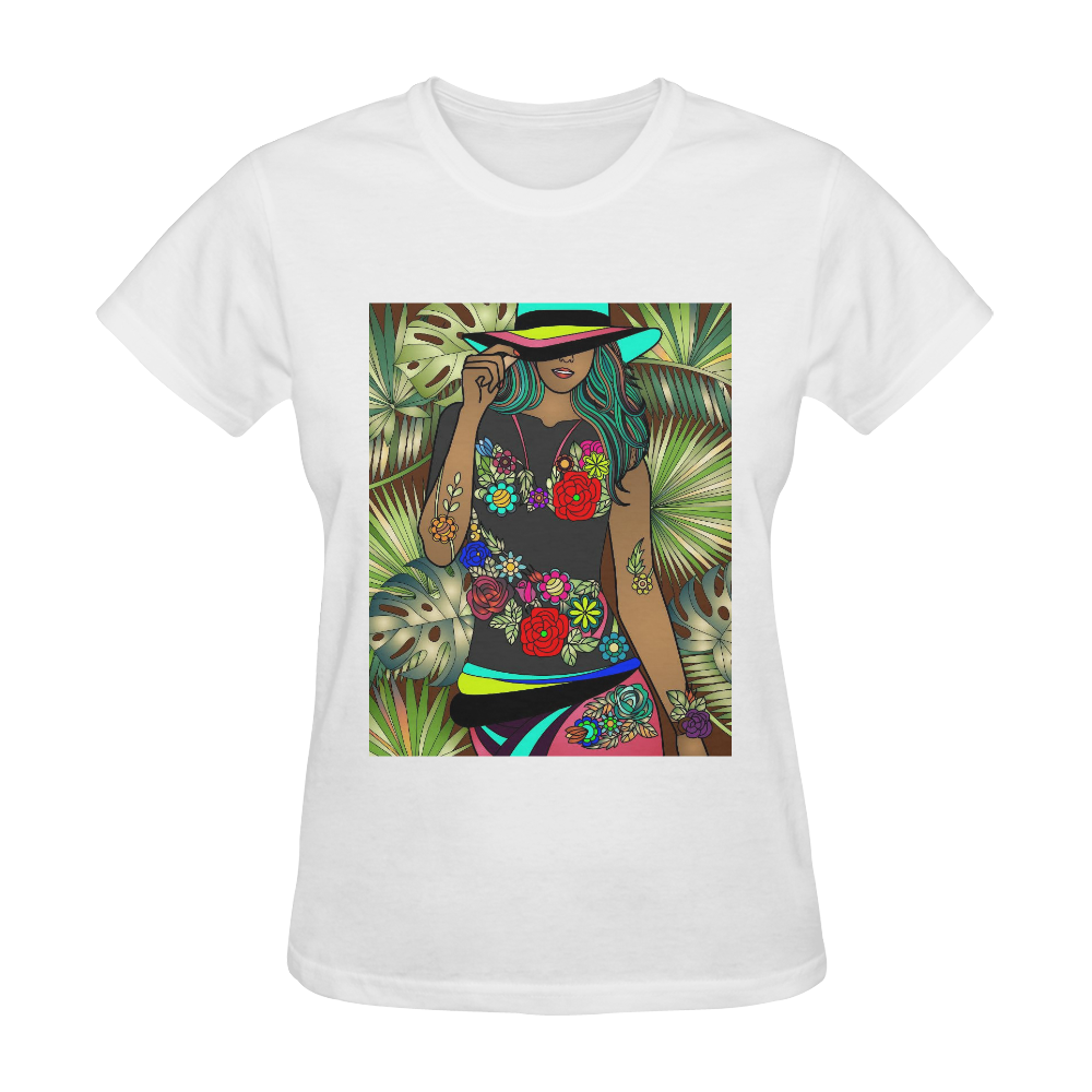 Lady In Hat In The Tropicals Design By Me by Doris Clay-Kersey Sunny Women's T-shirt (Model T05)