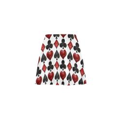 Las Vegas Black and Red Casino Poker Card Shapes on White Mini Skating Skirt (Model D36)