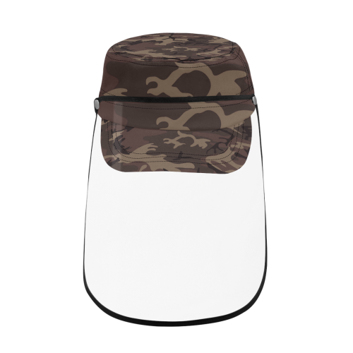 Camo Red Brown Military Style Cap (Detachable Face Shield)