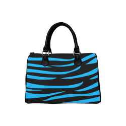 Tiger Stripes Black and Blue Boston Handbag (Model 1621)