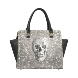 Modern sparkling Skull A by JamColors Rivet Shoulder Handbag (Model 1645)
