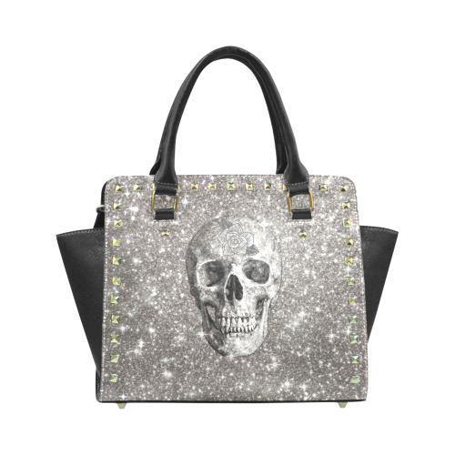 Modern sparkling Skull A by JamColors Rivet Shoulder Handbag (Model 1645)