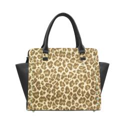 Leopard Fabric Animal Pattern Rivet Shoulder Handbag (Model 1645)