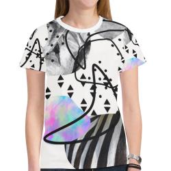 minimal art New All Over Print T-shirt for Women (Model T45)