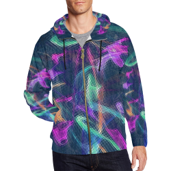 Techno by Nico Bielow All Over Print Full Zip Hoodie for Men (Model H14)