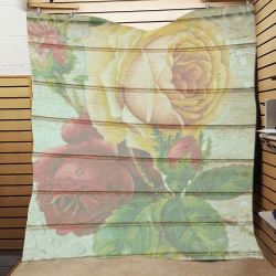 "Vintage Wood Roses Quilt 60""x70"""