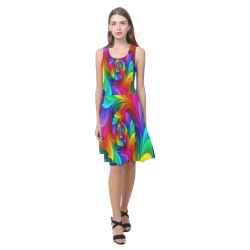 RAINBOW CANDY SWIRL Atalanta Casual Sundress(Model D04)