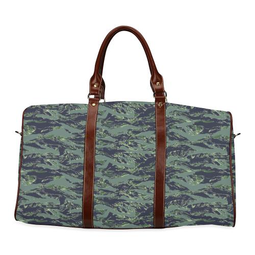 Jungle Tiger Stripe Green Camouflage Waterproof Travel Bag/Large (Model 1639)