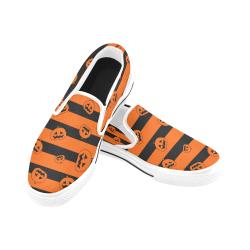 Calabazas-con-fondo Women's Unusual Slip-on Canvas Shoes (Model 019)