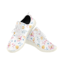 Flowers & butterflies Grus Women's Breathable Woven Running Shoes (Model 022)