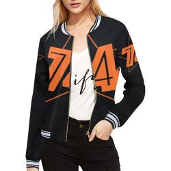 Dundealent 5 stars I Black All Over Print Bomber Jacket for Women (Model H21)