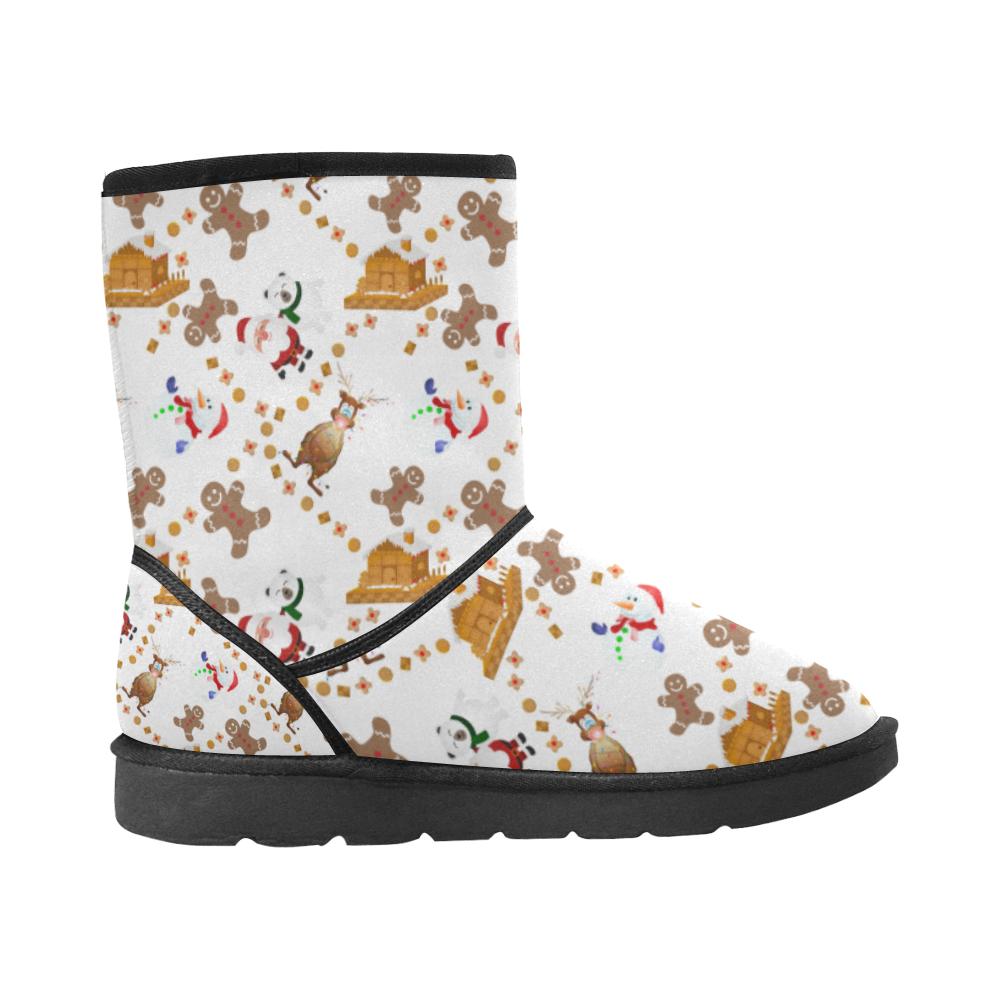 Christmas Gingerbread, Snowman, Reindeer and Santa Claus Custom High Top Unisex Snow Boots (Model 047)