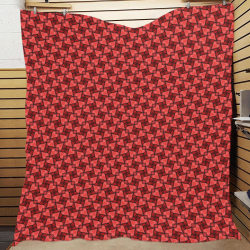 "Love Red Hearts Pattern Quilt 70""x80"""