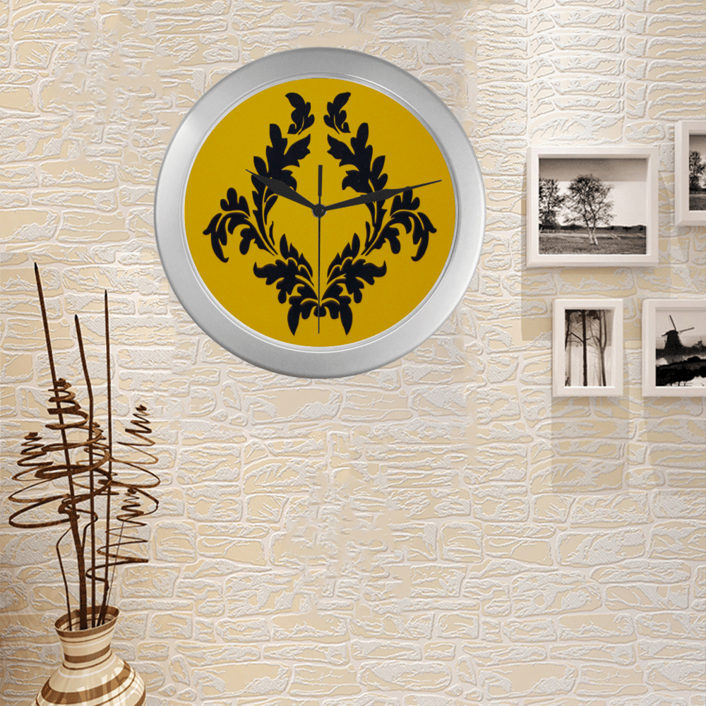 Silver Frame Wall Clock Classic Graphic Yellow Victorian Style Modern Art Wall Clock Silver Color Wall Clock