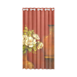 "White Roses New Window Curtain 50"" x 96""(One Piece)"