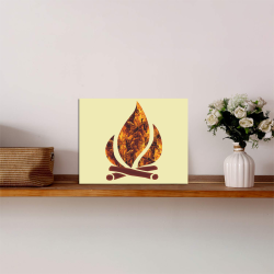 """Flaming Campfire Photo Panel for Tabletop Display 8""""x6"""""""