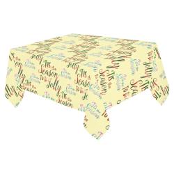 "Christmas 'Tis The Season Pattern on Yellow Cotton Linen Tablecloth 52""x 70"""
